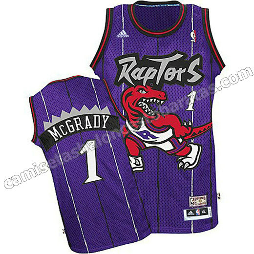 camisetas baloncesto ninos toronto raptors tracy McGrady #1 purpura