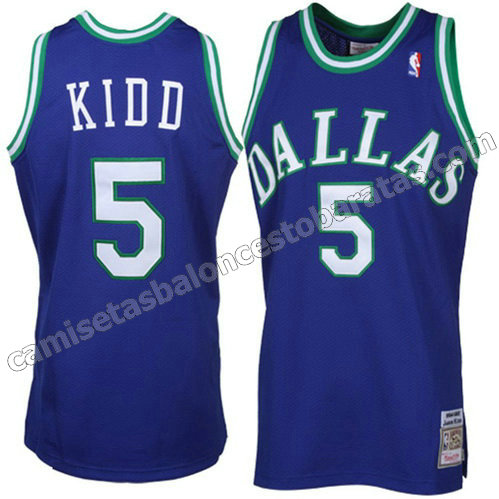 camiseta nba jason kidd #5 dallas mavericks throwback azul