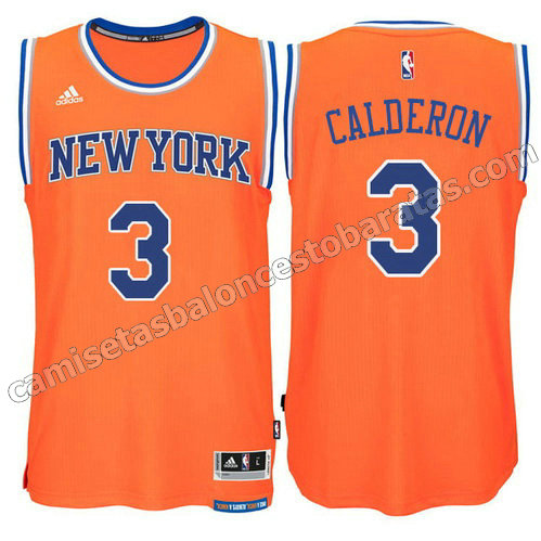 equipacion jose calderon #3 new york knicks 2015 swingman naranja