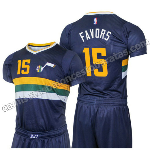 camisetas nba derrick favors 15 utah jazz 2016 azul
