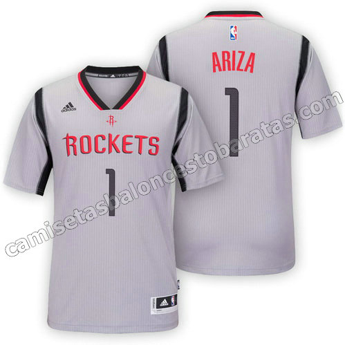 camisetas nba trevor ariza #1 houston rockets 2015-2016 gris