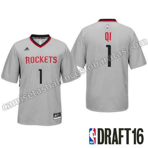 camisetas nba zhou qi 1 houston rockets draft 2016 gris
