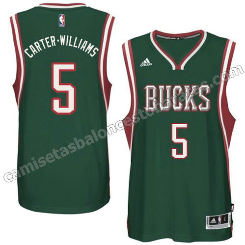 camiseta carter williams #5 milwaukee bucks 2014-2015 verde