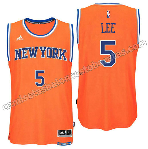 camiseta courtney lee 5 new york knicks 2016 naranja