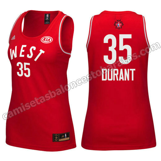 camiseta mujer nba all star 2016 kevin durant #35 roja