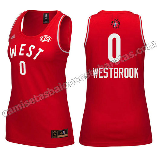 camiseta mujer nba all star 2016 russell westbrook #0 roja