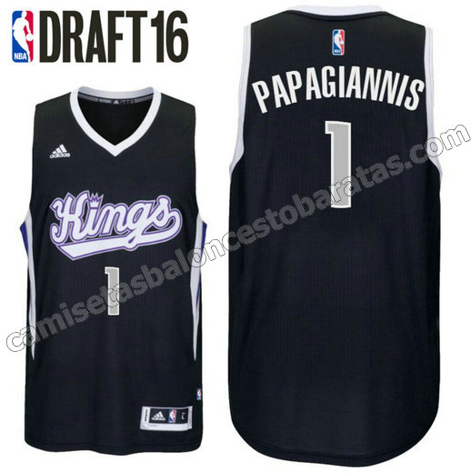 camiseta georgios papagiannis 1 sacramento kings draft 2016 negro