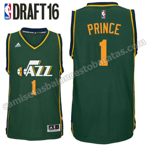 camiseta taurean prince 1 utah jazz draft 2016 verde