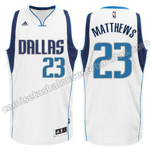 camiseta wesley matthews #23 dallas mavericks swingman blanca