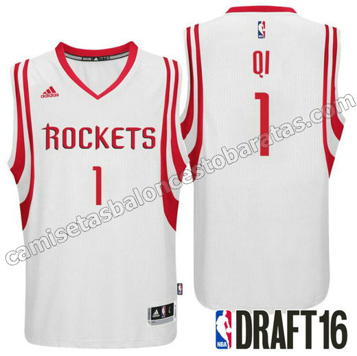 camisetas zhou qi 1 houston rockets draft 2016 blanca