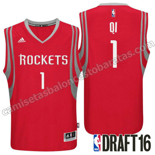 camisetas zhou qi 1 houston rockets draft 2016 roja